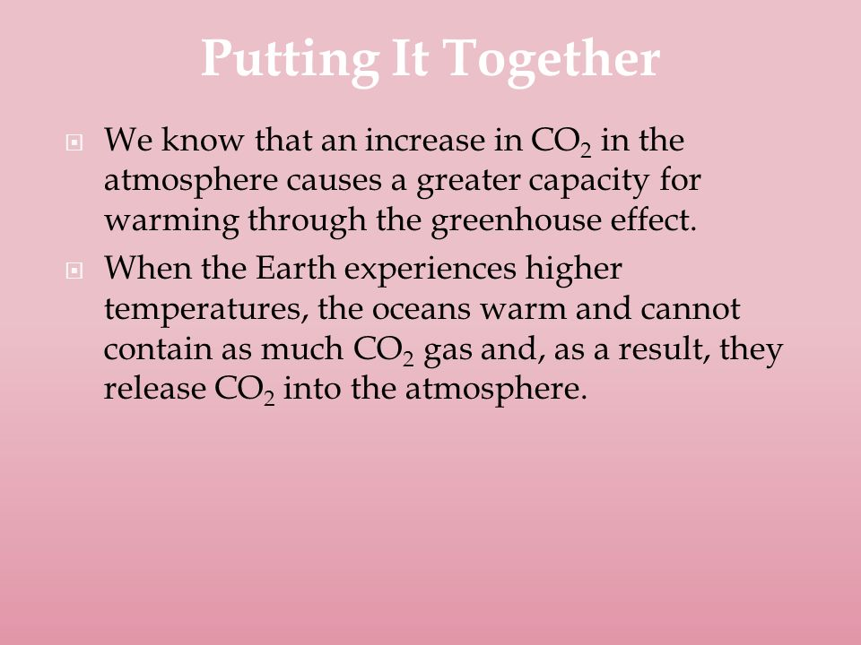  We know that an increase in CO 2 in the atmosphere causes a greater capacity for warming through the greenhouse effect.
