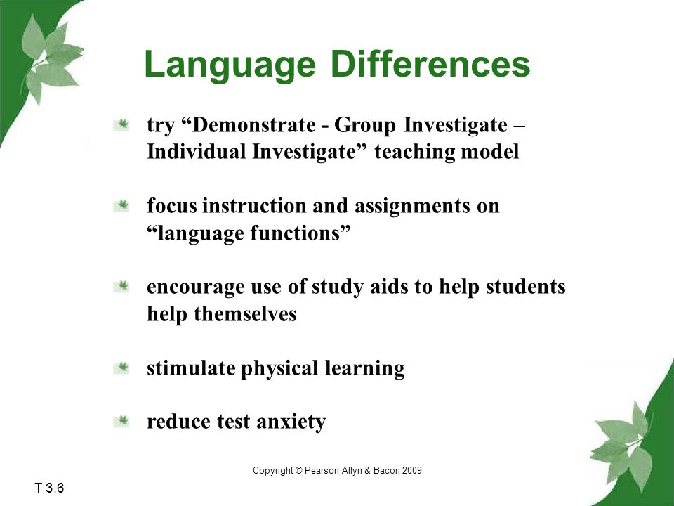 Copyright © Pearson Allyn & Bacon 2009 Language Differences try Demonstrate - Group Investigate – Individual Investigate teaching model focus instruction and assignments on language functions encourage use of study aids to help students help themselves stimulate physical learning reduce test anxiety T 3.6
