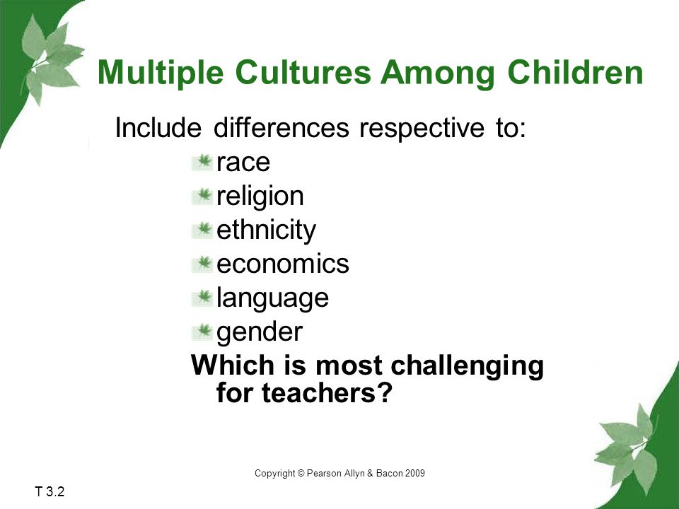 Copyright © Pearson Allyn & Bacon 2009 T 3.2 Include differences respective to: race religion ethnicity economics language gender Which is most challenging for teachers.