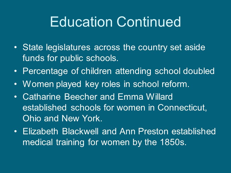 Education Continued State legislatures across the country set aside funds for public schools.