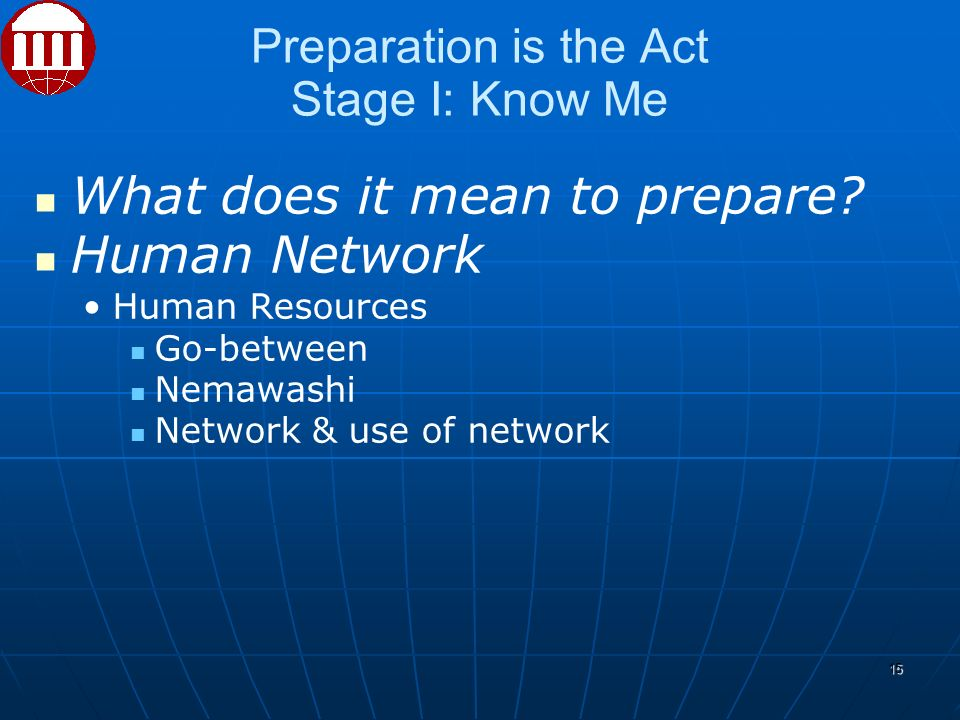 Preparation is the Act Stage I: Know Me What does it mean to prepare.