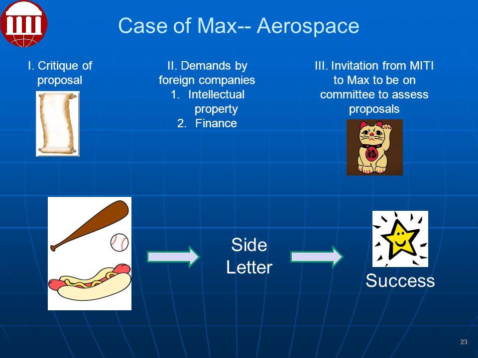 Case of Max-- Aerospace I. Critique of proposal II.