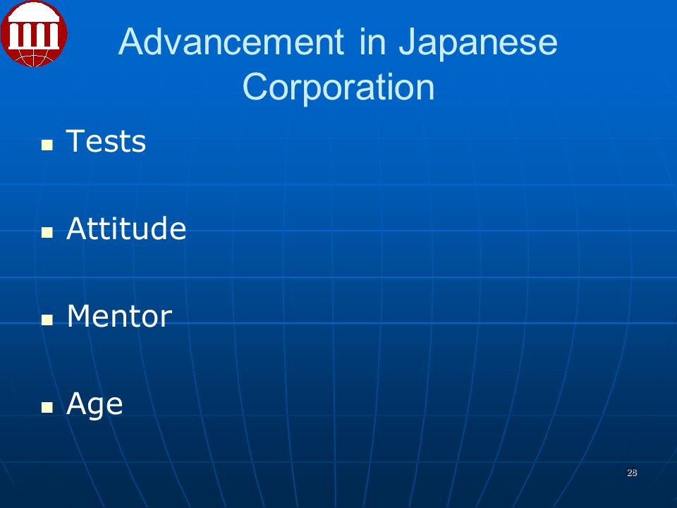 Advancement in Japanese Corporation Tests Attitude Mentor Age 28