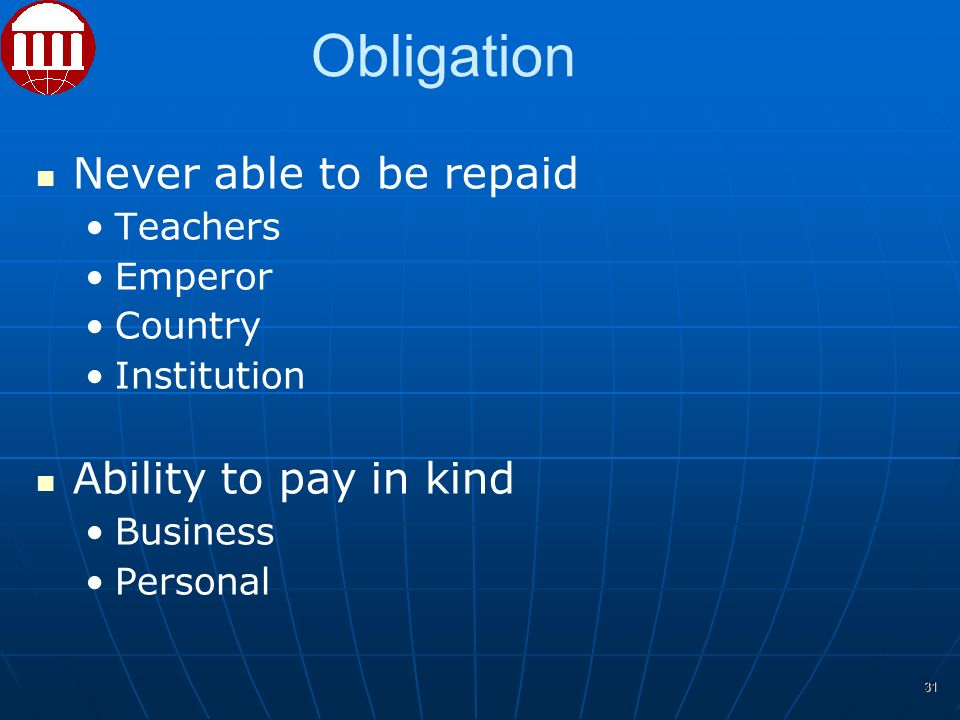 Never able to be repaid Teachers Emperor Country Institution Ability to pay in kind Business Personal 31 Obligation