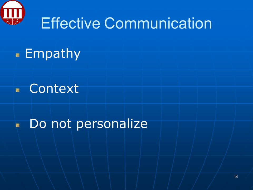 Effective Communication Empathy Context Do not personalize 36