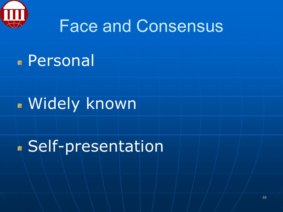 Face and Consensus Personal Widely known Self-presentation 48