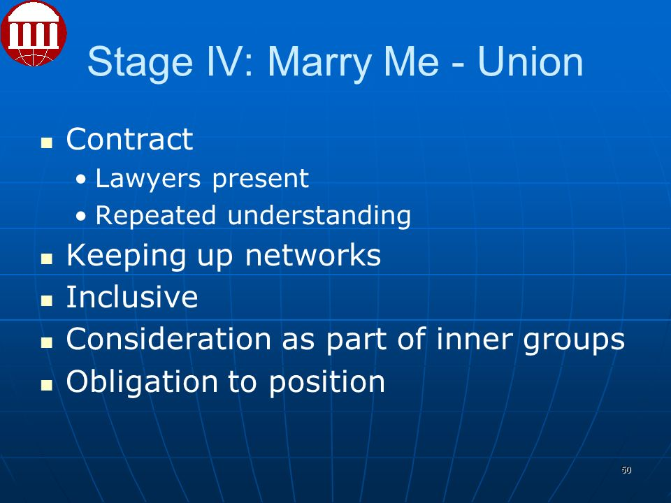 Stage IV: Marry Me - Union Contract Lawyers present Repeated understanding Keeping up networks Inclusive Consideration as part of inner groups Obligation to position 50