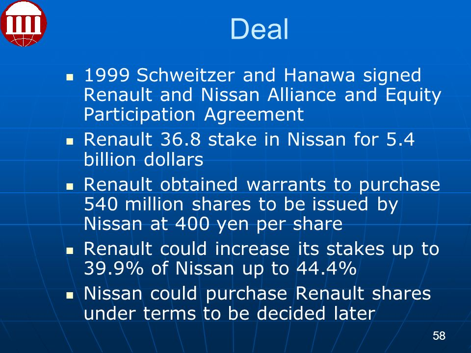 Deal 1999 Schweitzer and Hanawa signed Renault and Nissan Alliance and Equity Participation Agreement Renault 36.8 stake in Nissan for 5.4 billion dollars Renault obtained warrants to purchase 540 million shares to be issued by Nissan at 400 yen per share Renault could increase its stakes up to 39.9% of Nissan up to 44.4% Nissan could purchase Renault shares under terms to be decided later 58