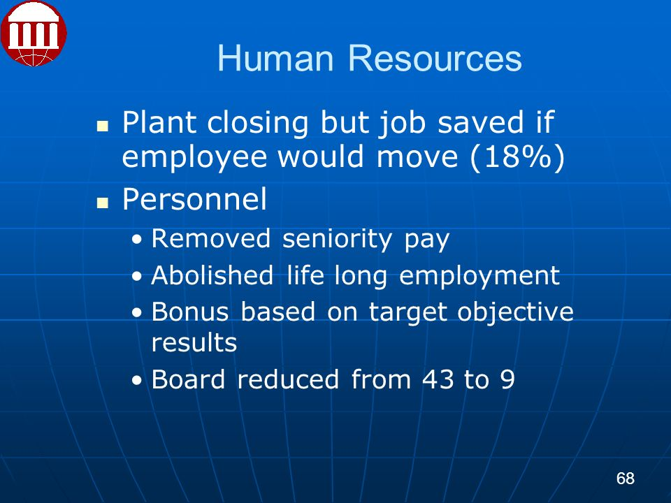 Human Resources Plant closing but job saved if employee would move (18%) Personnel Removed seniority pay Abolished life long employment Bonus based on target objective results Board reduced from 43 to 9 68