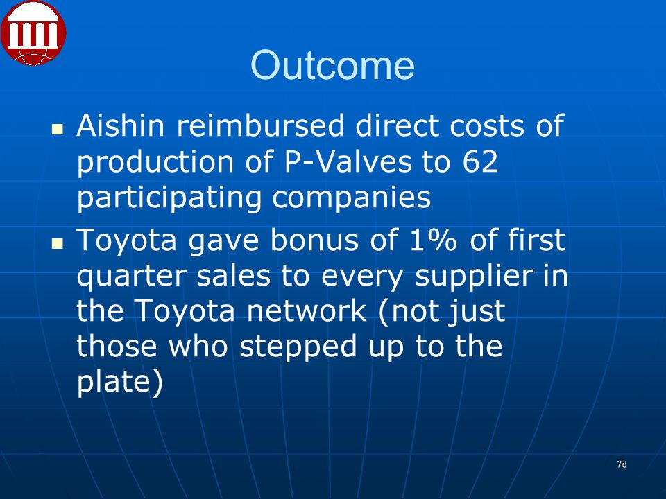 Outcome Aishin reimbursed direct costs of production of P-Valves to 62 participating companies Toyota gave bonus of 1% of first quarter sales to every supplier in the Toyota network (not just those who stepped up to the plate) ‏ 78