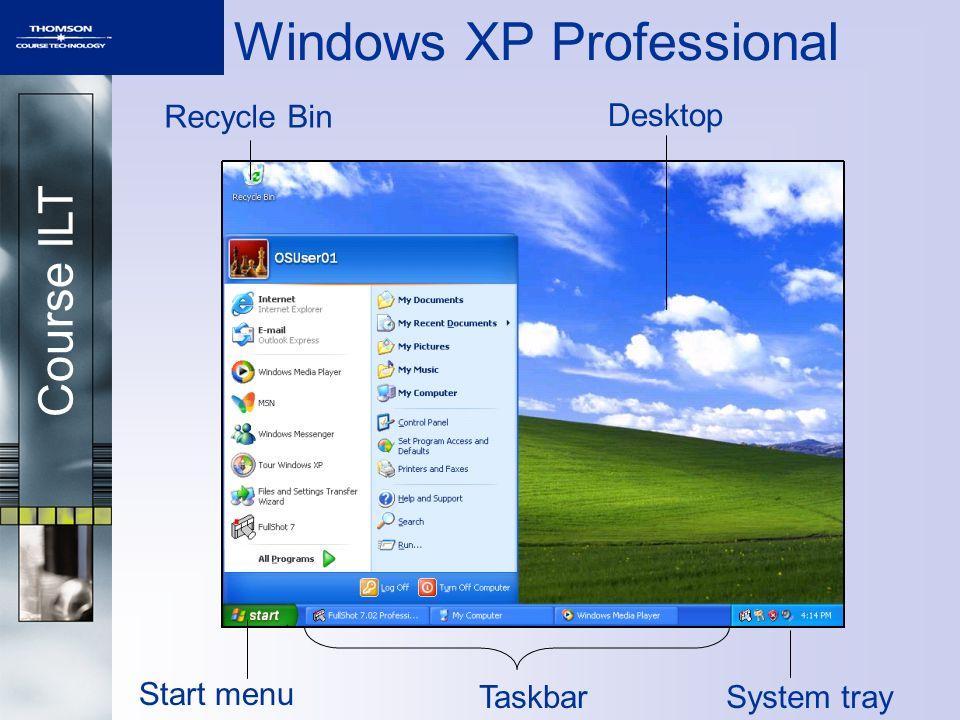 Course ILT Windows XP Professional Start menu TaskbarSystem tray Recycle Bin Desktop