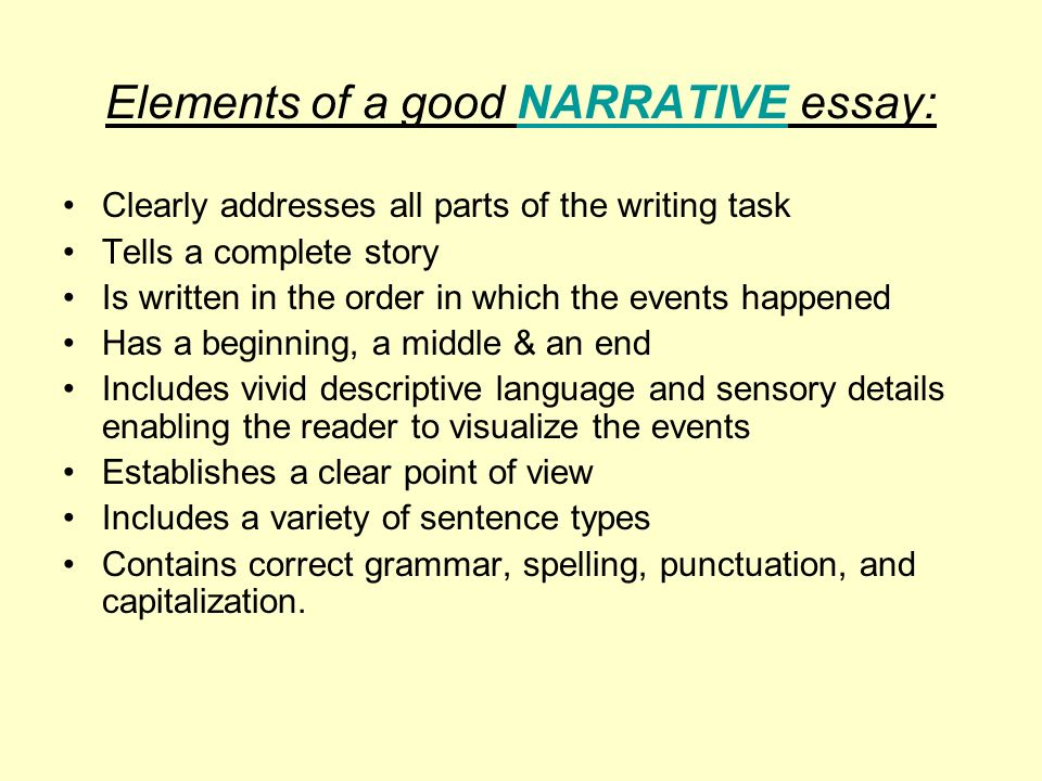 help with writing a narrative essay Of all the types of essays, the narrative essay is the one that comes most naturally to most people a narrative is just a story, and we all have plenty of experience at telling stories.