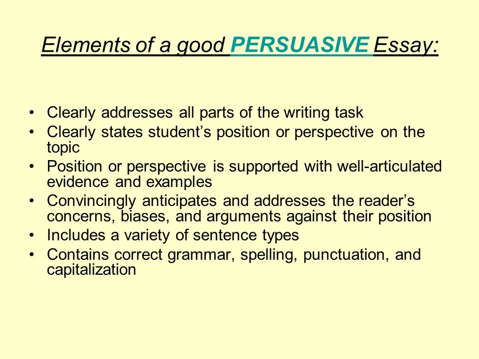 what are the elements of a persuasive essay Elements of the persuasive essay the perrsuasive should remain persuasive of different essays that the elements and term possess and masterfully use them in the writing.