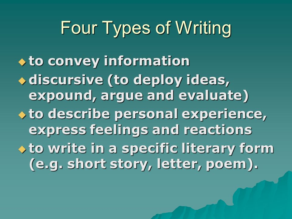 introduction four types of discursive writing How to write articles and essays quickly and expertly introduction: four types of discursive writing from time to time people express amazement at how i.