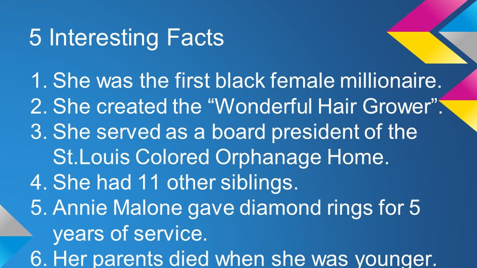 5 Interesting Facts 1.She was the first black female millionaire.