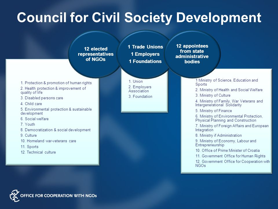Council for Civil Society Development 1. Protection & promotion of human rights 2.