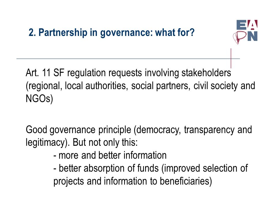 2. Partnership in governance: what for. Art.