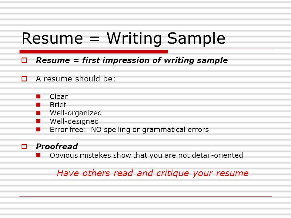 resume writing sample