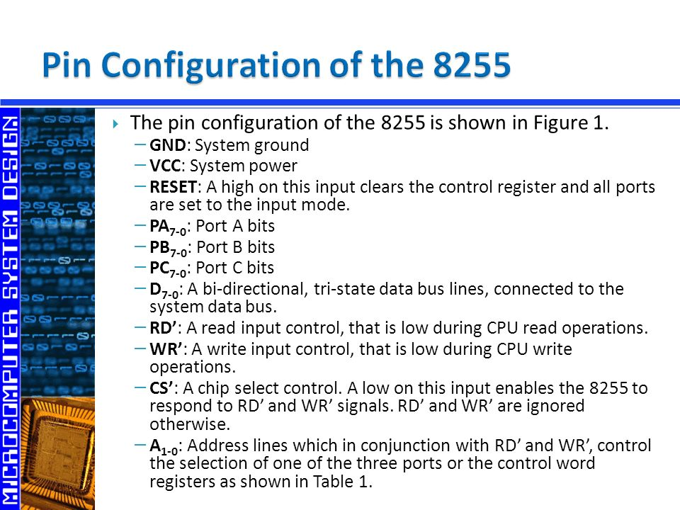  The pin configuration of the 8255 is shown in Figure 1.