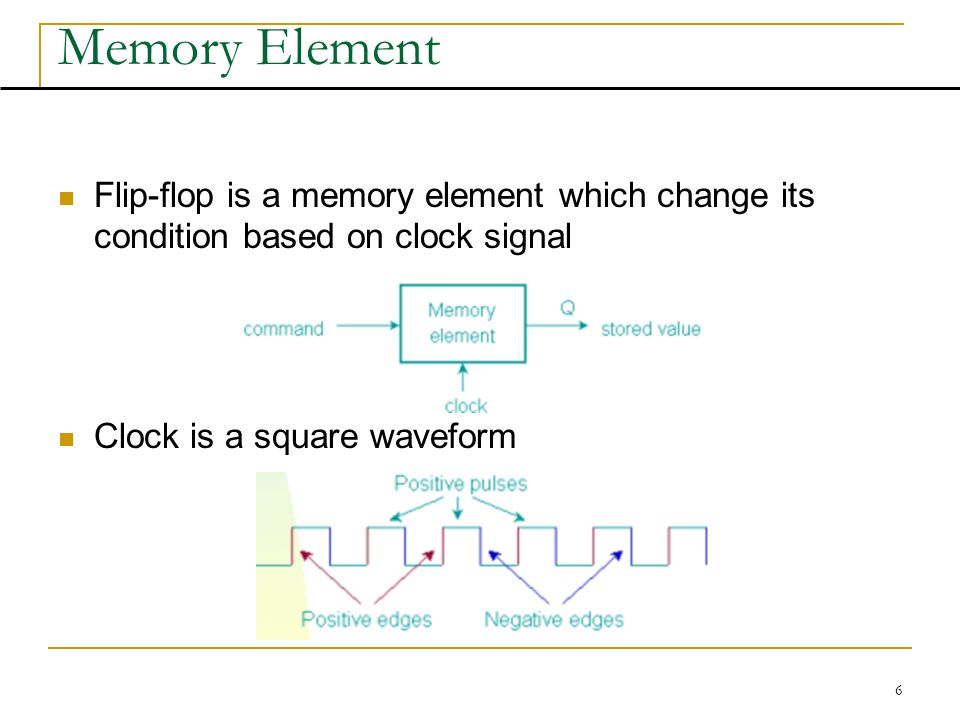 6 Memory Element Flip-flop is a memory element which change its condition based on clock signal Clock is a square waveform