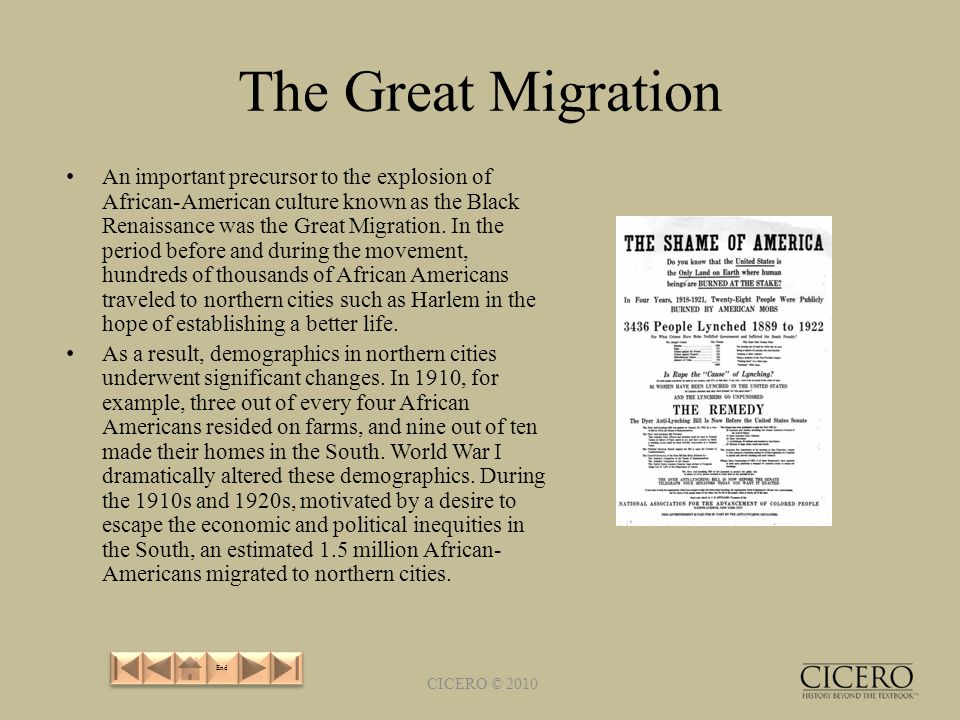 The Great Migration An important precursor to the explosion of African-American culture known as the Black Renaissance was the Great Migration.