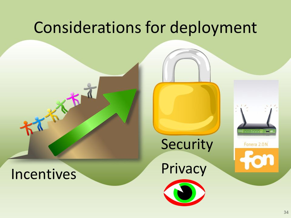 Incentives Security Privacy Considerations for deployment 34