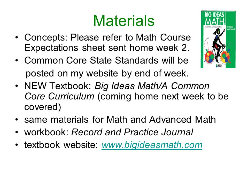 Materials Concepts: Please refer to Math Course Expectations sheet sent home week 2.