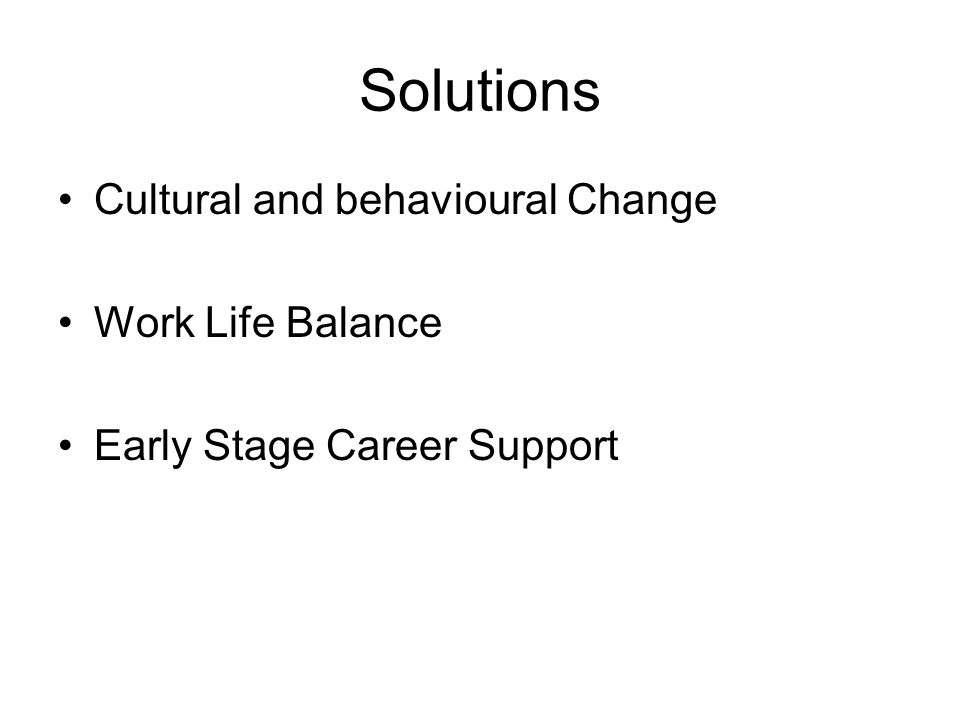 Solutions Cultural and behavioural Change Work Life Balance Early Stage Career Support