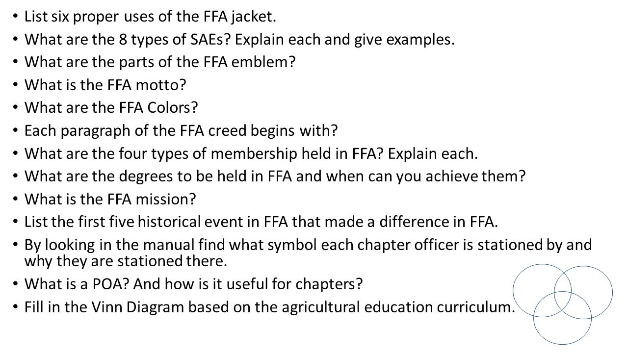 Worksheets Ffa Creed Worksheet copy assignments each day as teacher checks roll monday august list six proper uses of the ffa jacket what are 8 types saes