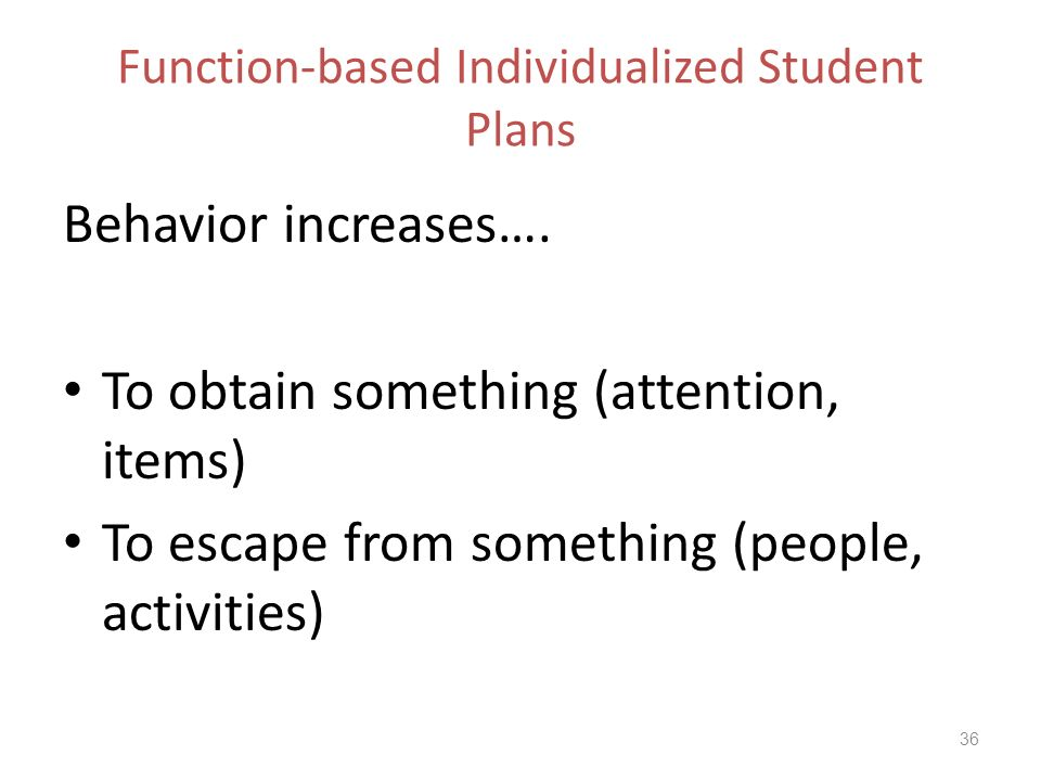 Function-based Individualized Student Plans Behavior increases….