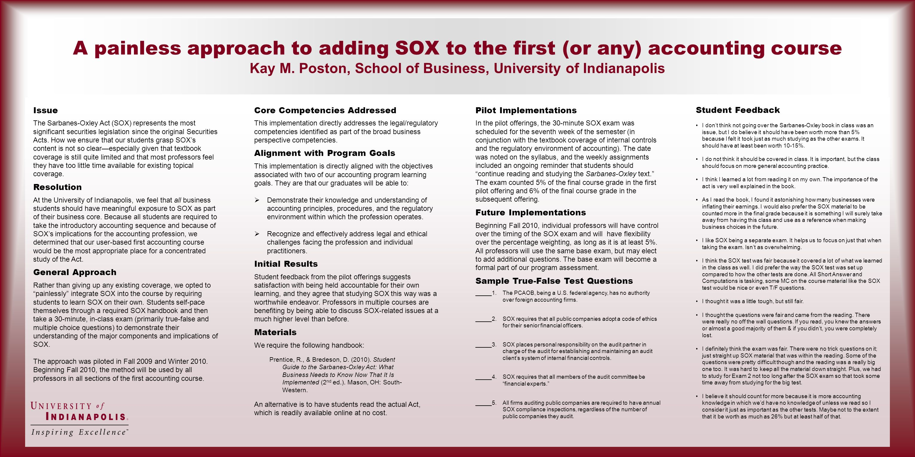 A painless approach to adding SOX to the first (or any) accounting course Kay M.