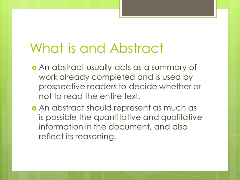 How To Write Abstract For Research Paper
