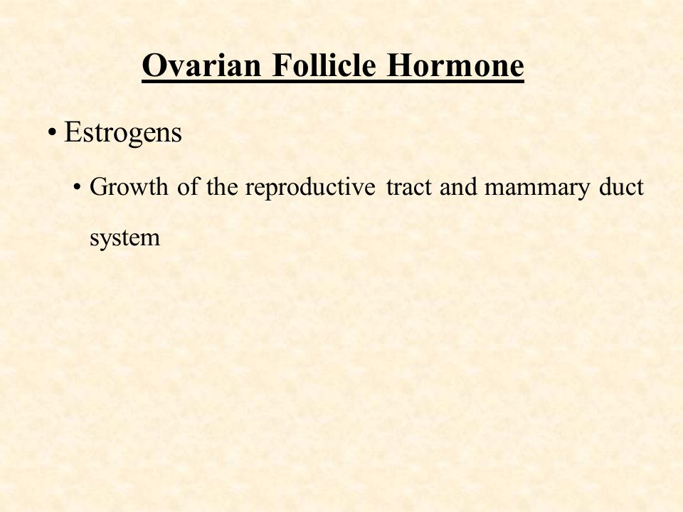 Ovarian Follicle Hormone Estrogens Growth of the reproductive tract and mammary duct system