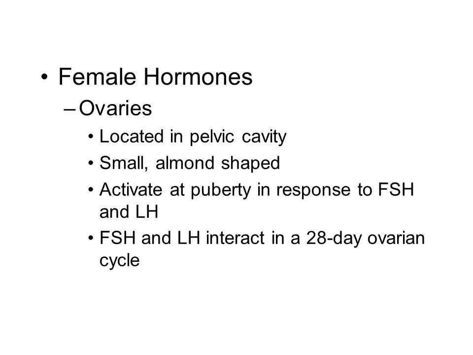 Female Hormones –Ovaries Located in pelvic cavity Small, almond shaped Activate at puberty in response to FSH and LH FSH and LH interact in a 28-day ovarian cycle