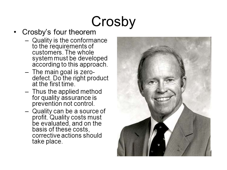 Crosby Crosby's four theorem –Quality is the conformance to the requirements of customers.