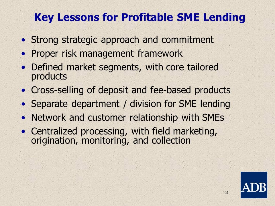 24 Key Lessons for Profitable SME Lending Strong strategic approach and commitment Proper risk management framework Defined market segments, with core tailored products Cross-selling of deposit and fee-based products Separate department / division for SME lending Network and customer relationship with SMEs Centralized processing, with field marketing, origination, monitoring, and collection