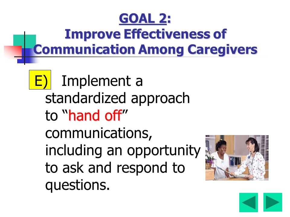 hand off E) Implement a standardized approach to hand off communications, including an opportunity to ask and respond to questions.