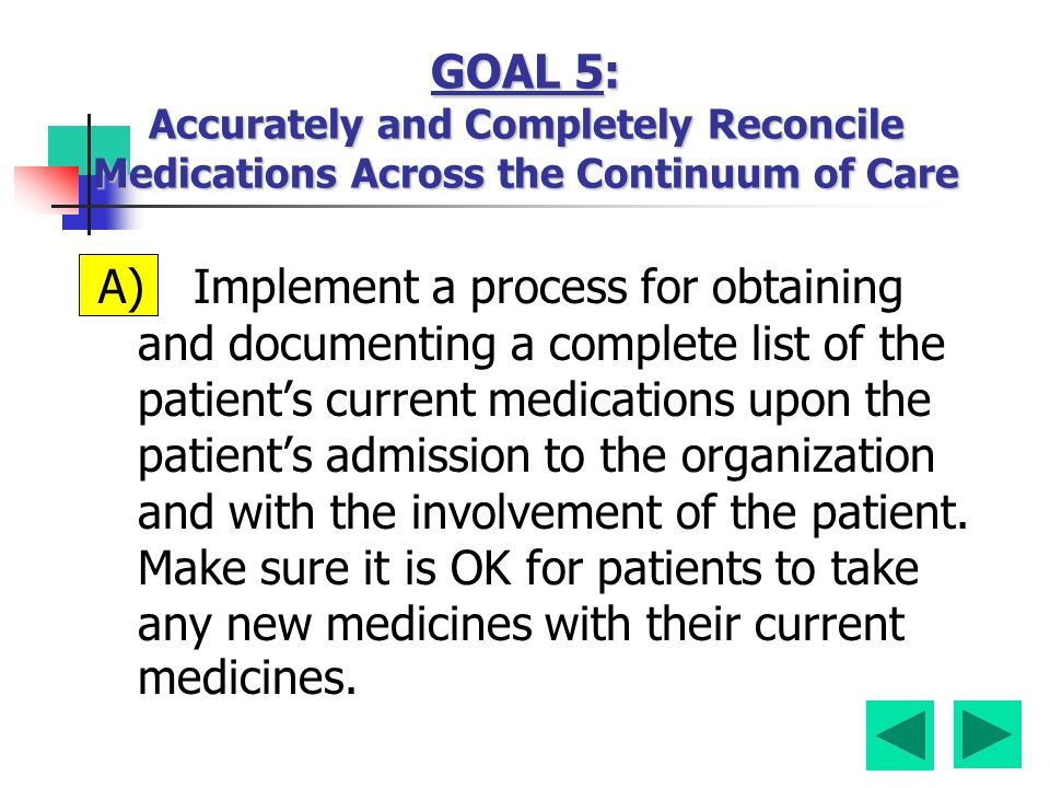 A) Implement a process for obtaining and documenting a complete list of the patient's current medications upon the patient's admission to the organization and with the involvement of the patient.