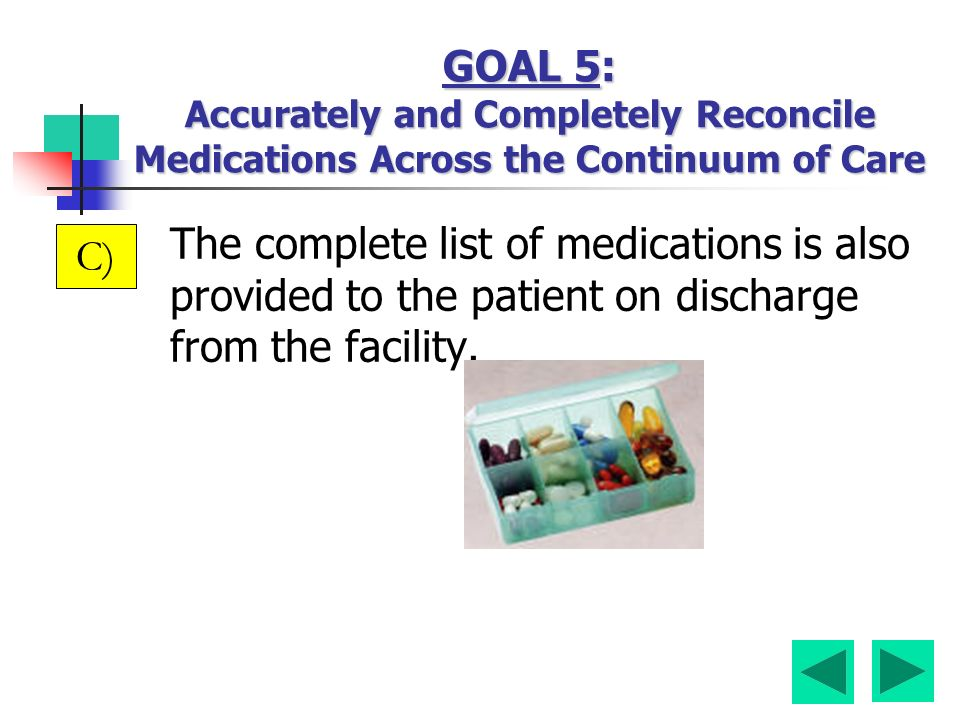 The complete list of medications is also provided to the patient on discharge from the facility. C)