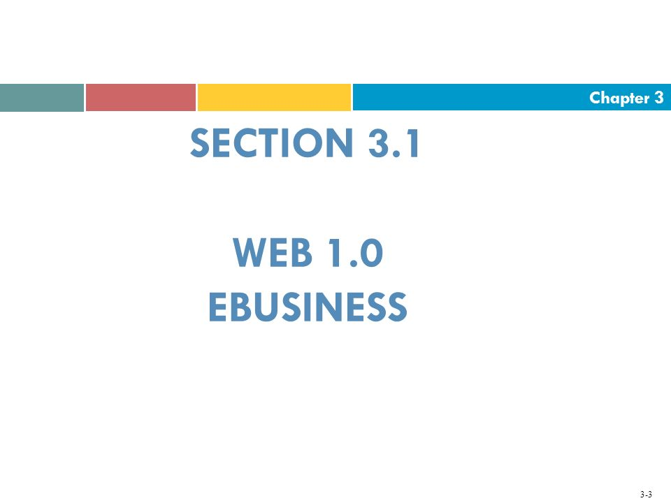 Chapter 3 3-3 SECTION 3.1 WEB 1.0 EBUSINESS
