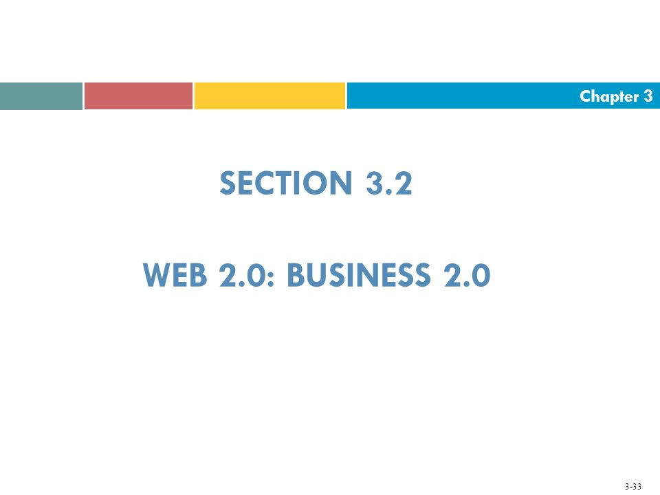 Chapter 3 3-33 SECTION 3.2 WEB 2.0: BUSINESS 2.0