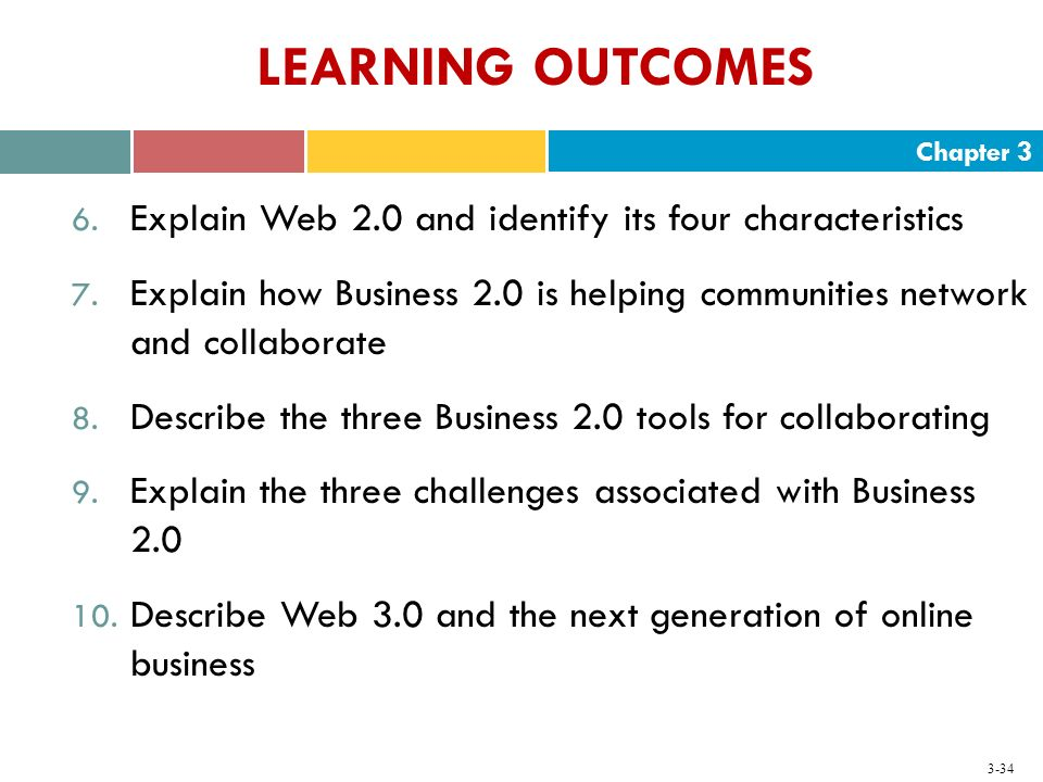 Chapter 3 3-34 LEARNING OUTCOMES 6. Explain Web 2.0 and identify its four characteristics 7. Explain how Business 2.0 is helping communities network a