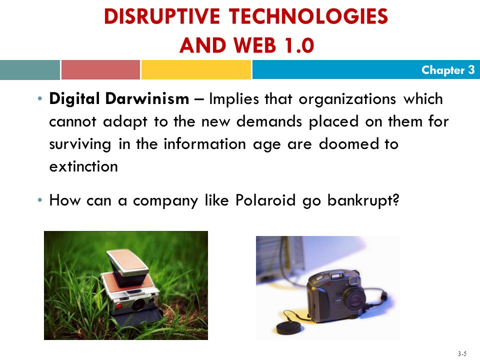 Chapter 3 3-5 DISRUPTIVE TECHNOLOGIES AND WEB 1.0 Digital Darwinism – Implies that organizations which cannot adapt to the new demands placed on them