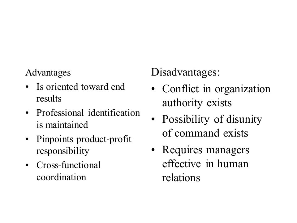 Advantages Is oriented toward end results Professional identification is maintained Pinpoints product-profit responsibility Cross-functional coordinat