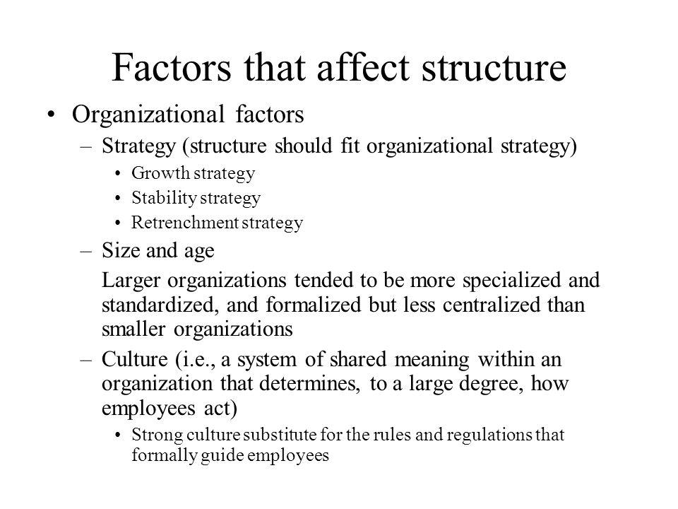 Factors that affect structure Organizational factors –Strategy (structure should fit organizational strategy) Growth strategy Stability strategy Retre