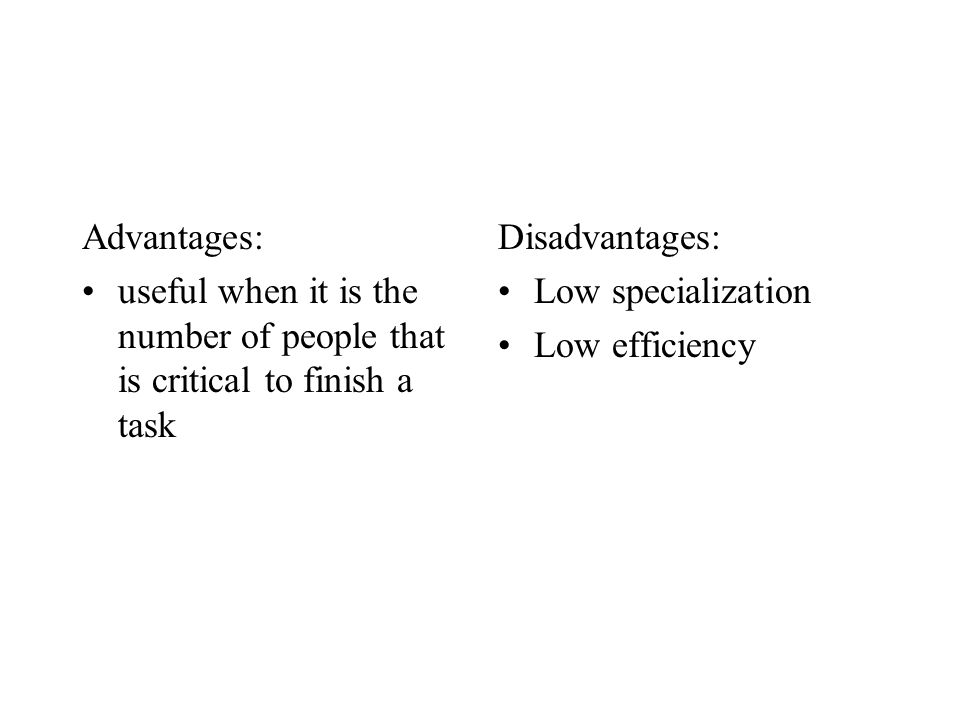 Advantages: useful when it is the number of people that is critical to finish a task Disadvantages: Low specialization Low efficiency