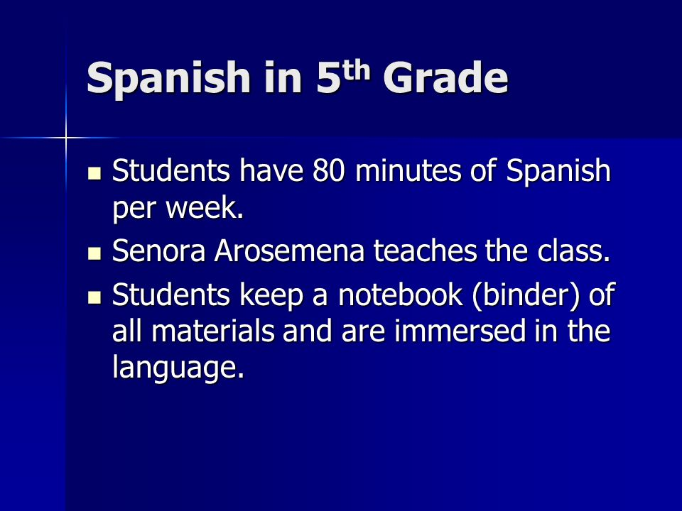 Spanish in 5 th Grade Students have 80 minutes of Spanish per week.