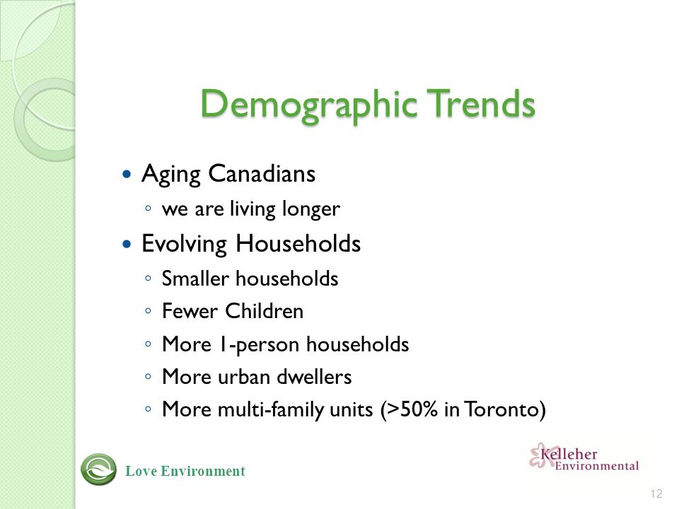 Demographic Trends Aging Canadians ◦ we are living longer Evolving Households ◦ Smaller households ◦ Fewer Children ◦ More 1-person households ◦ More urban dwellers ◦ More multi-family units (>50% in Toronto) 12 Love Environment