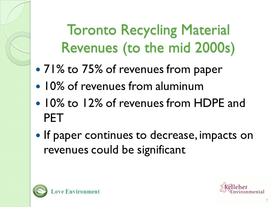 Toronto Recycling Material Revenues (to the mid 2000s) 71% to 75% of revenues from paper 10% of revenues from aluminum 10% to 12% of revenues from HDPE and PET If paper continues to decrease, impacts on revenues could be significant 7 Love Environment