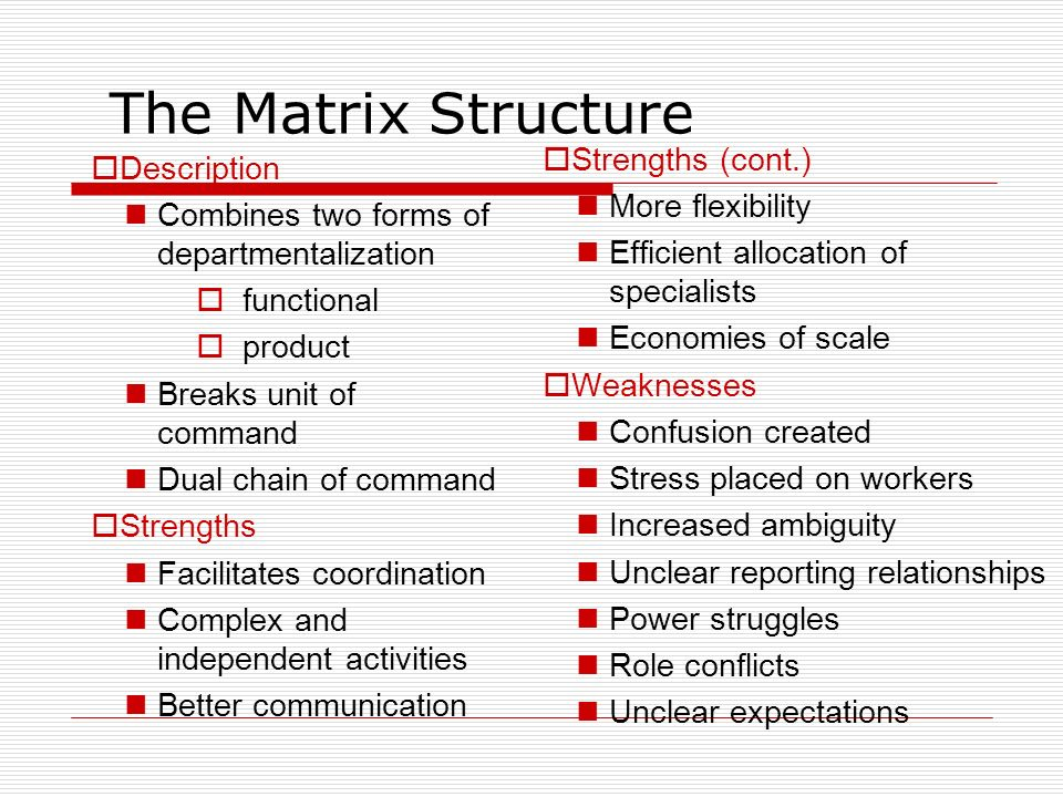 Matrix Structure Advantages  decentralized decision making  strong project coordination  flexible use of human resources  efficient use of support